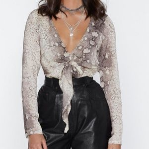 Nasty Gal Life's How You Snake It Bodysuit Size 6